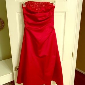 Gorgeous Red Strapless Cocktail Dress w/ Wrap